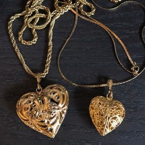2 Vintage Filigree Goldtone Puffed Heart Necklaces